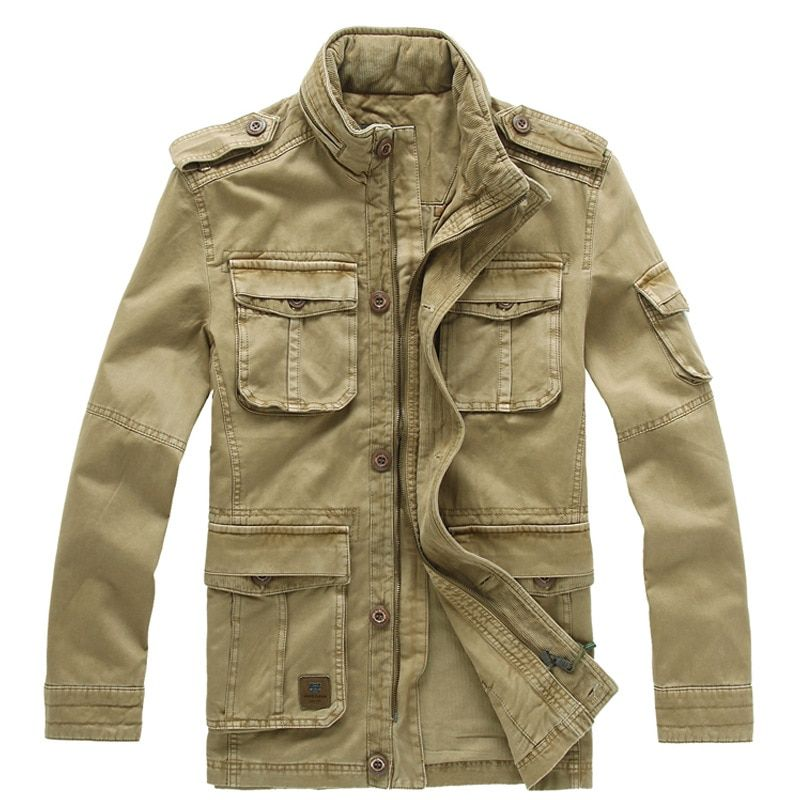 Asia Size M-5XL Men's Spring Autumn Active Casual 100% Cotton Military Jacket Coat For Men Spring Autumn,2 Colors,JF8205
