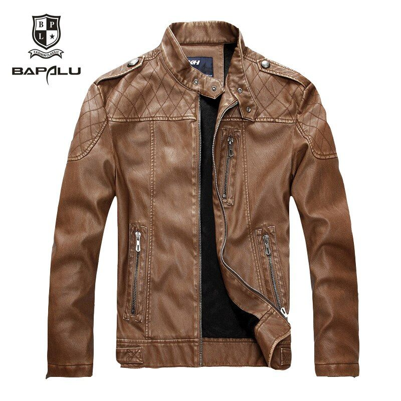 Fall New Arrivals Men's leather jacket Jaqueta COURO Masculina bomber sheepskin coat collar men's casual leather jacket