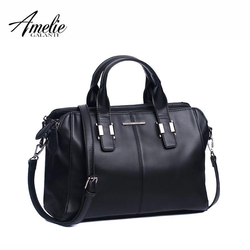 AMELIE GALANTI Stilvolle frauen Handtasche mit Drei Großen Fächer PU Leanther Frauen Handtaschen Umhängetaschen Frauen Casual Totes