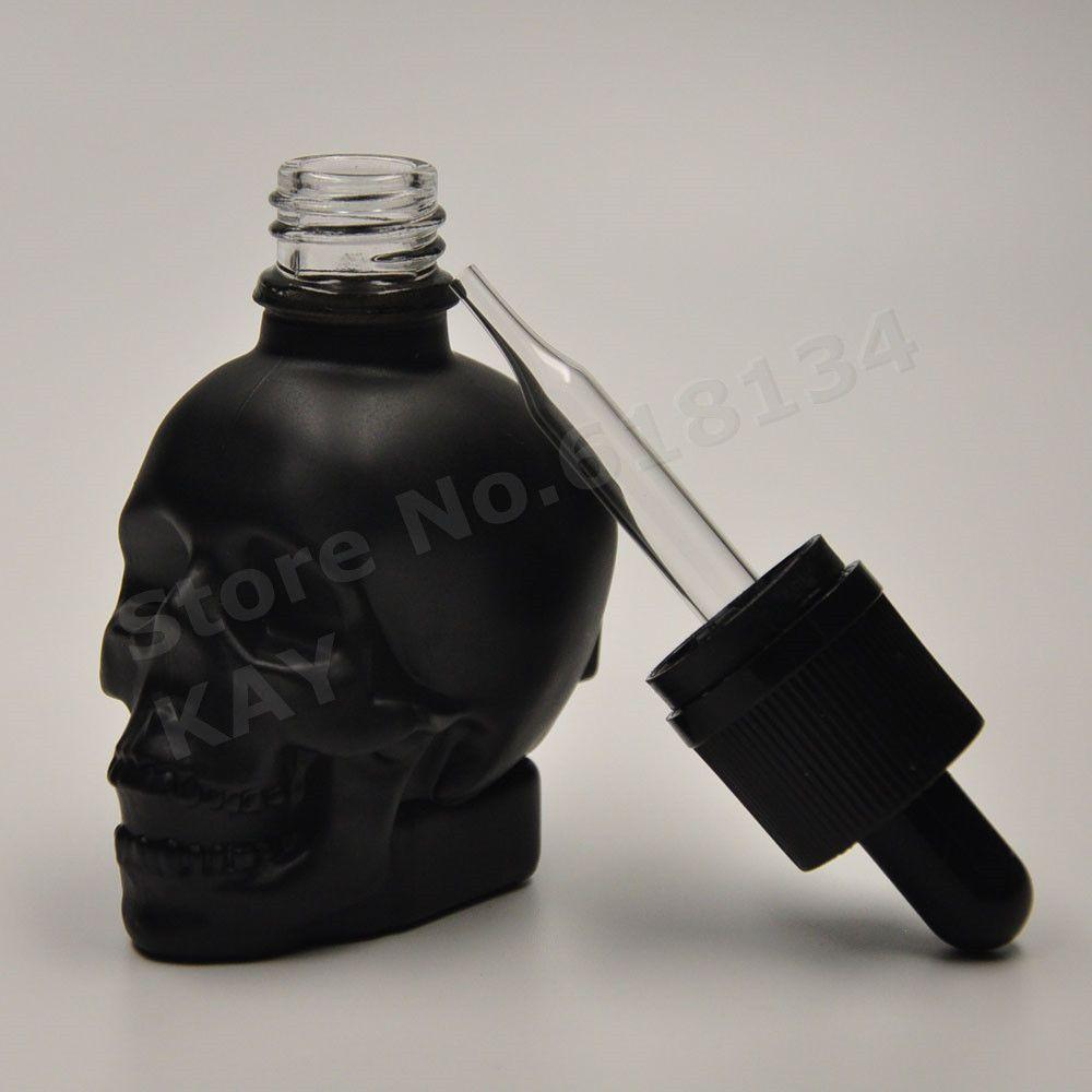 Free shipping 30ml skull dropper bottle black glass material bottle 100PCS