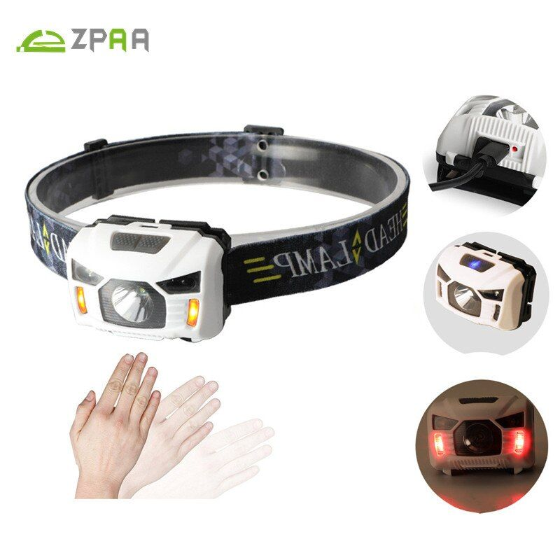 Mini Portable IR Capteur Phare R5 XPF LED USB Rechargeable Lanterne USB Projecteur Rouge/Blanc Lumière Tête Torche Intégré batterie