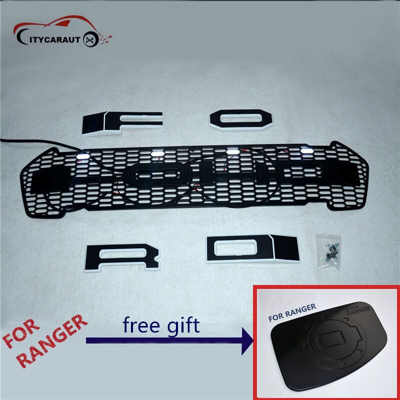 2016-2017 LED Grills ABS Black Front Grill Suitable Ford Ranger Wildtrak T7 Pickup Rangers Decorative Grilles