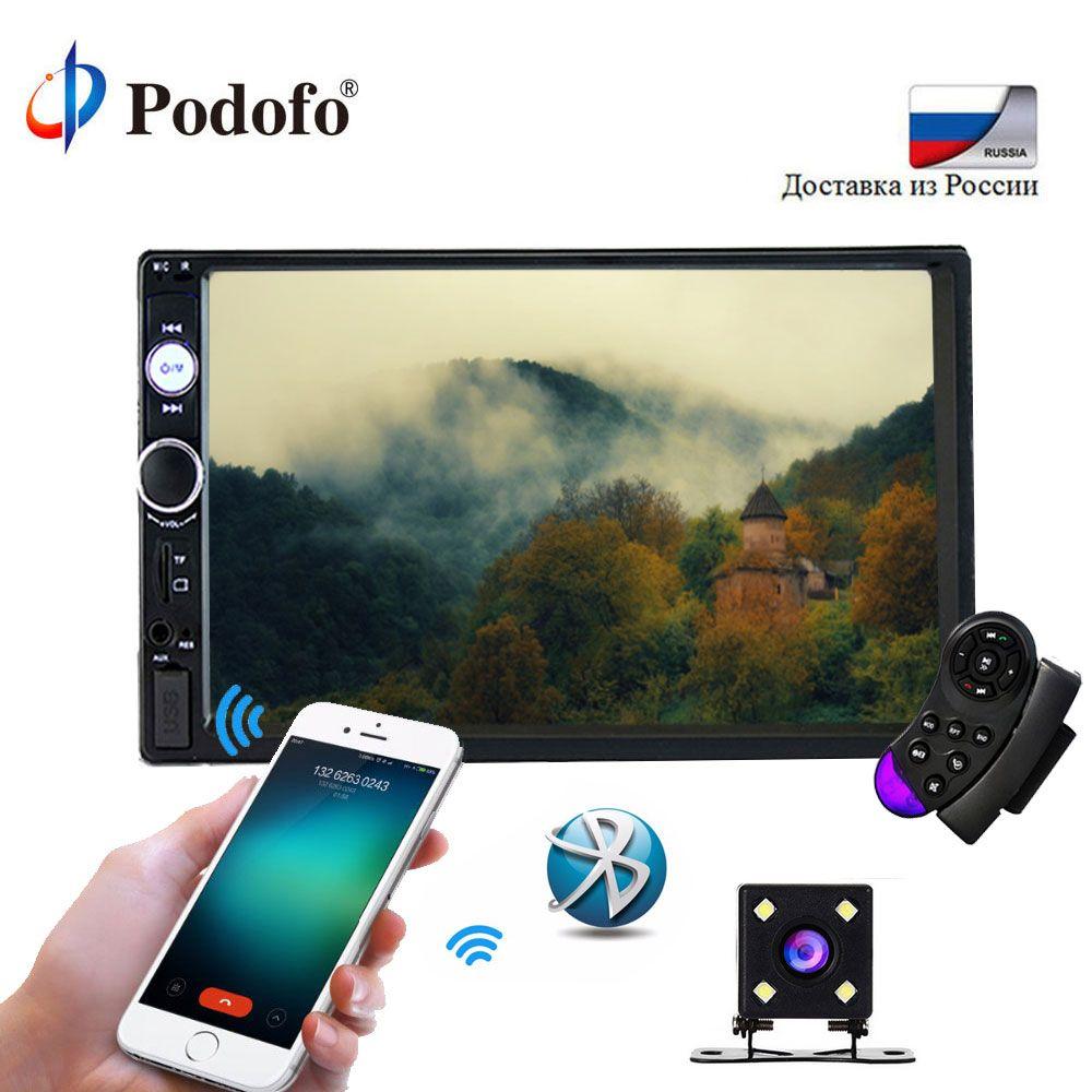 Podofo 2din 7023B Autoradio 7 tactile dans le tableau de bord lecteur audio automatique MP5 lecteur Autoradio Bluetooth caméra de recul télécommande