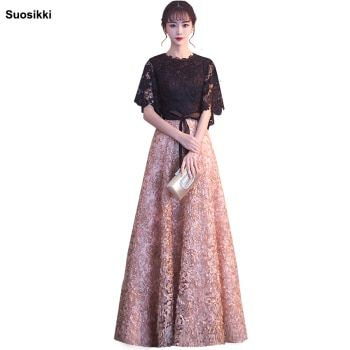 Suosikki 2018 New Evening Dress Black With Khaki Color Lace Floor-length Long Prom Party Gowns Formal evening dresses