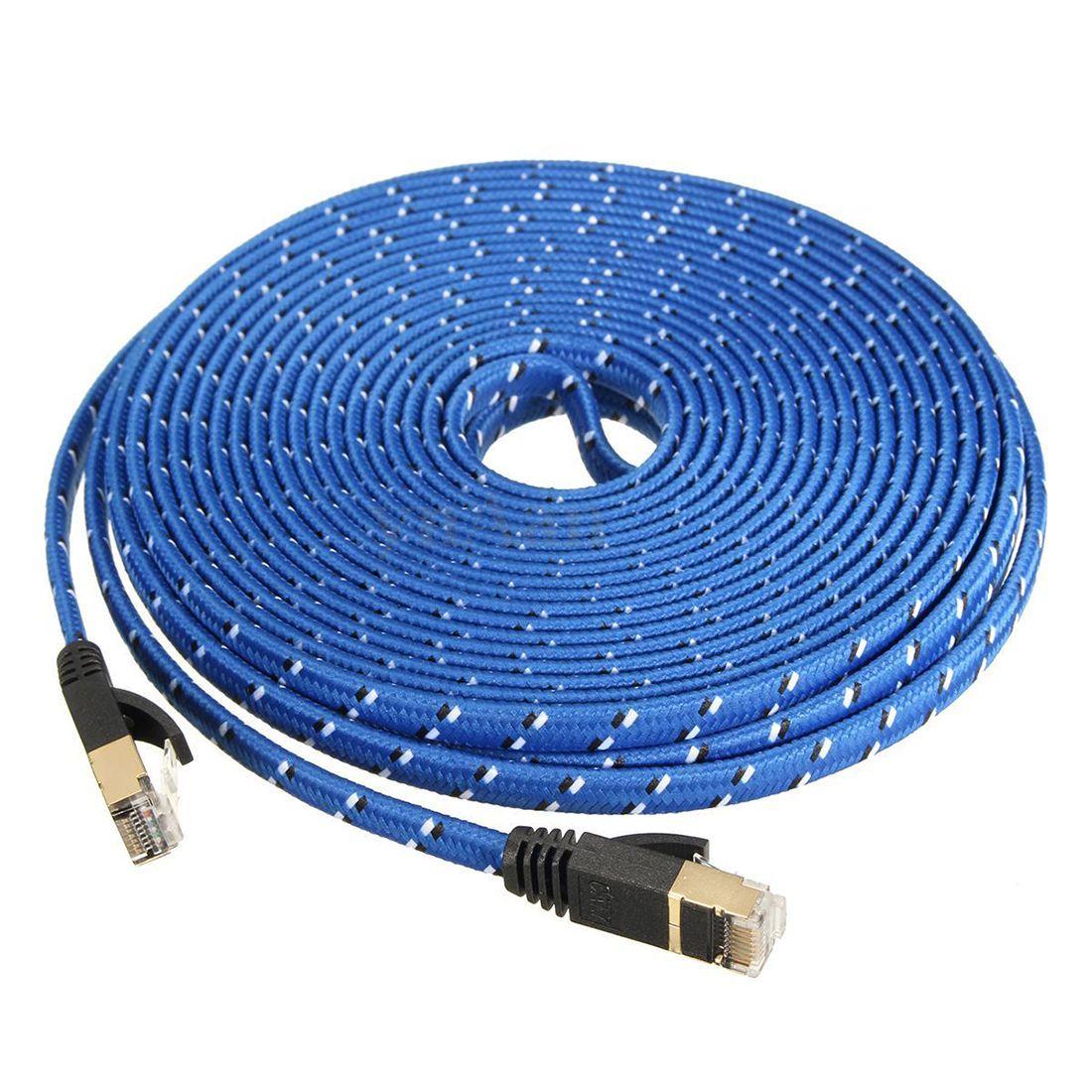 Top Angebote 10 Mt RJ45 CAT 7 CAT7 Ethernet Internet LAN Patch Netzwerk Flachkabel Kabel