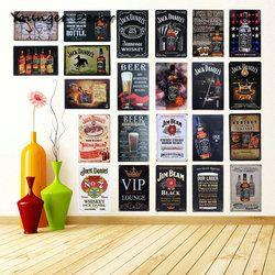 Rétro Vintage Vin Bière Whisky Marques Tin Signes Mur Art Peinture Jack Daniels En Métal Affiche Domicile Pub Bar Décoration YA022