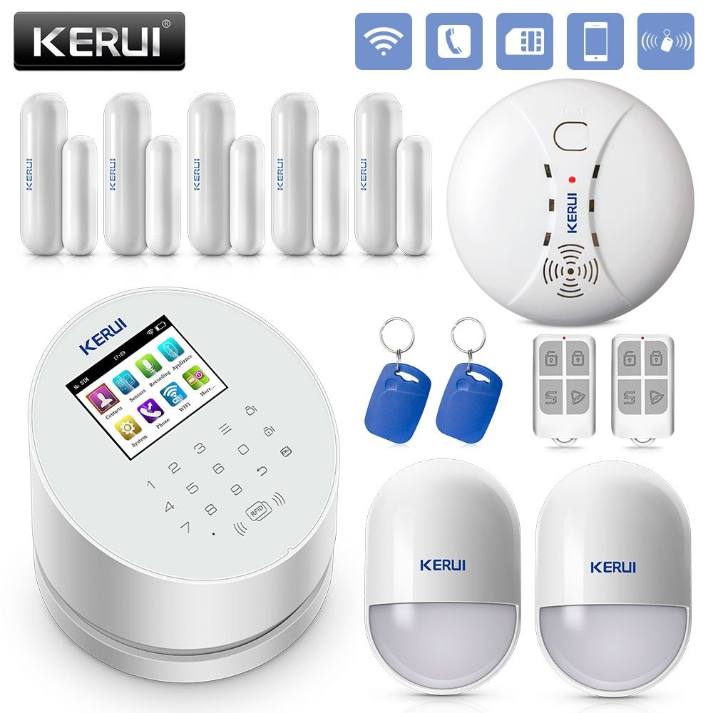 KERUI W2 2.4 Inch Screen WIFI GSM PSTN Alarm System Security RFID <font><b>Card</b></font> Disalarm Motion Detector Smart Home Burglar Alarm System