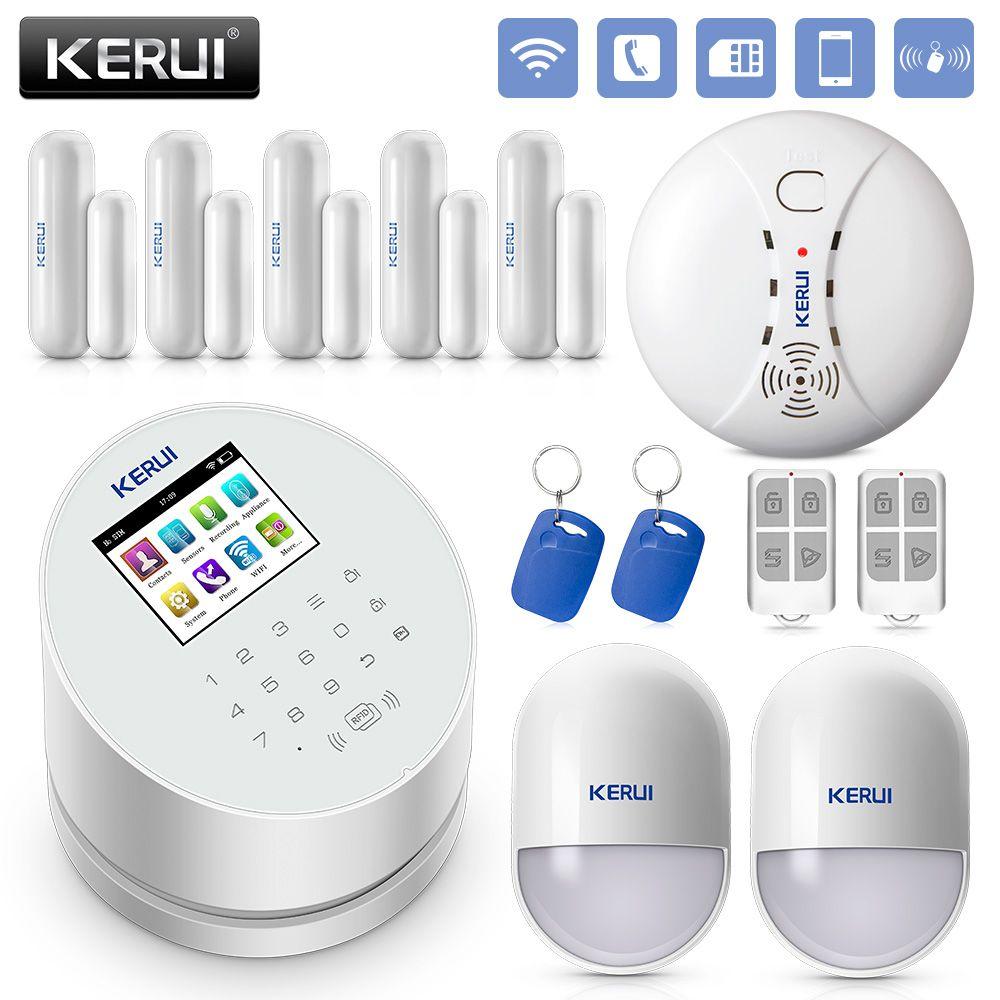 KERUI W2 2.4 <font><b>Inch</b></font> Screen WIFI GSM PSTN Alarm System Security RFID Card Disalarm Motion Detector Smart Home Burglar Alarm System
