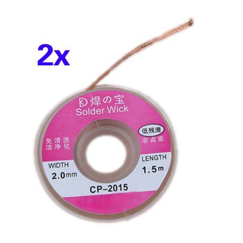 CNIM Hot 2Pcs 2.0MM Solder Wick Remover Desoldering Braid Wire Sucker Cable Fluxed Flux