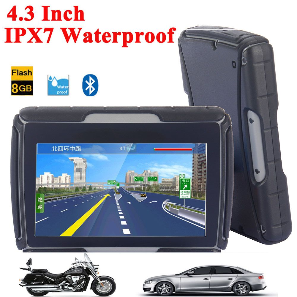 High Quality 4.3 Inch Motorcycle GPS Car GPS Navigation IPX7 Waterproof 8GB Internal Memroy Bluetooth BT With MAPS Free Shipping