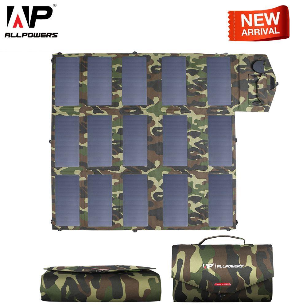 ALLPOWERS Neueste Solar Panel 100 W Solar Ladegerät Camouflage Farbe 5 v 12 V 18 V Im Freien Faltbare Tragbare Solar ladegerät USB DC Port