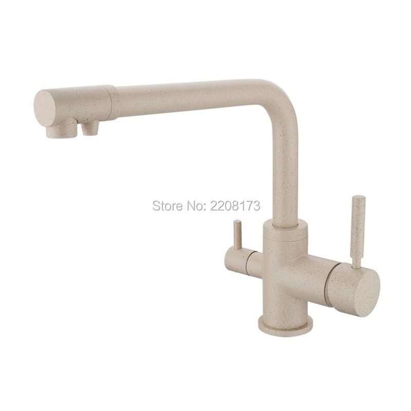 High Quality 100% Solid Brass Reverse Osmosis Three Way Sink Mixer 3 Way Water Filter Tap Construction Tri Flow Kitchen Faucet