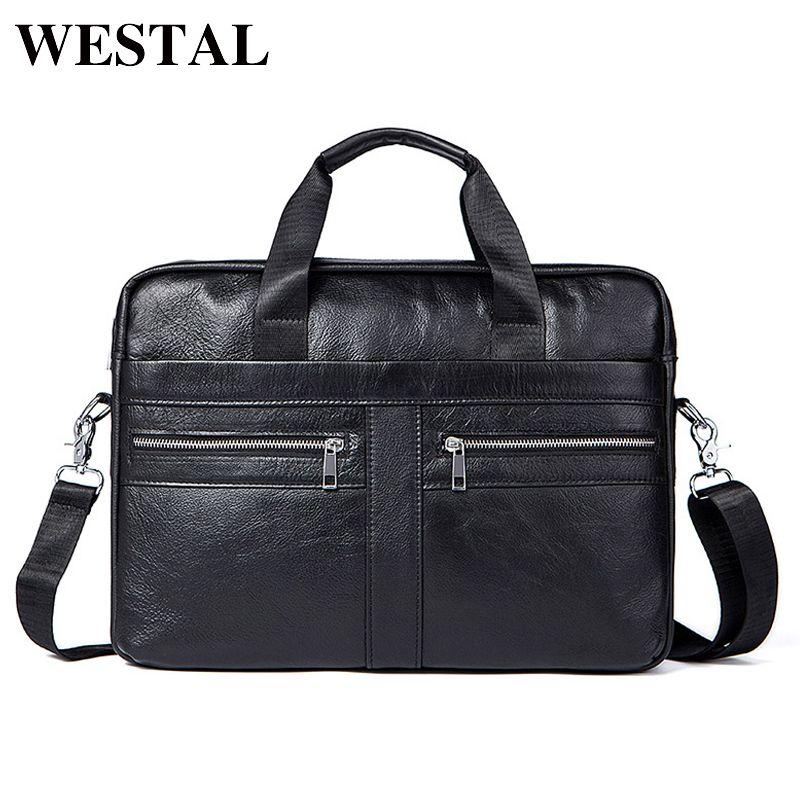 WESTAL Men's Bags Genuine Leather Crossbody male messenger bag Men's Shoulder Bag Business Briefcase Computer men Bags Totes