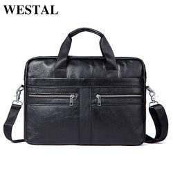 WESTAL Men's Bags Genuine Leather Crossbody Men's Shoulder Bag Business Briefcase Computer Bags Totes Messenger Zipper Large Bag