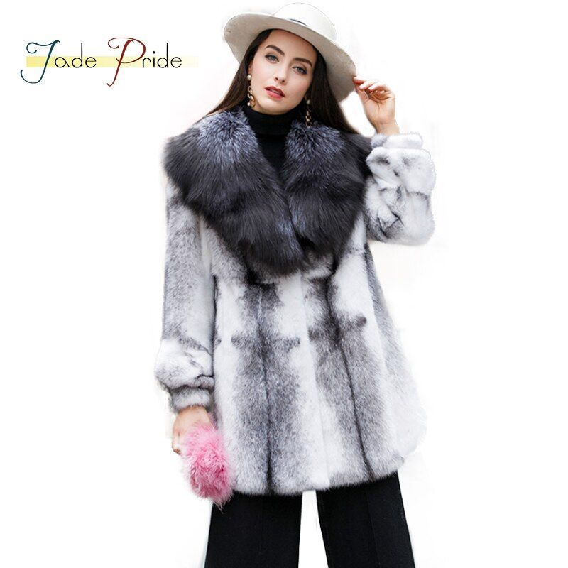 Jade Pride Real Mink Fur Coat 2017 New Women Winter Parka Warm Full Sleeve With Fur Trim Scarf Collar Gradual Black White Jacket