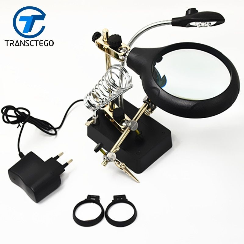 Magnifiers magnifying glass lamp 10 times table model with light for welding and repair
