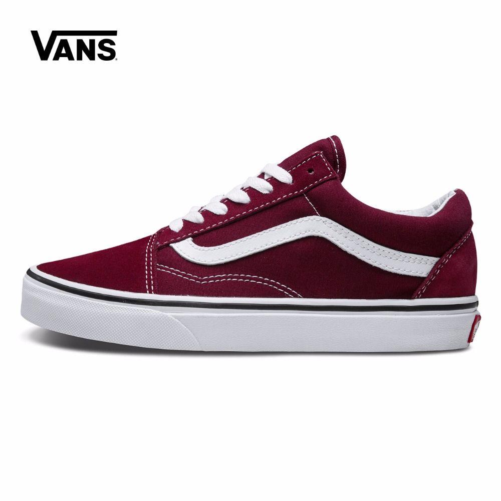 Оригинальные Vans OLD SKOOL красный Цвет с низким берцем Для мужчин и Для женщин Обувь для скейтбординга спортивная обувь холст Спортивная обувь