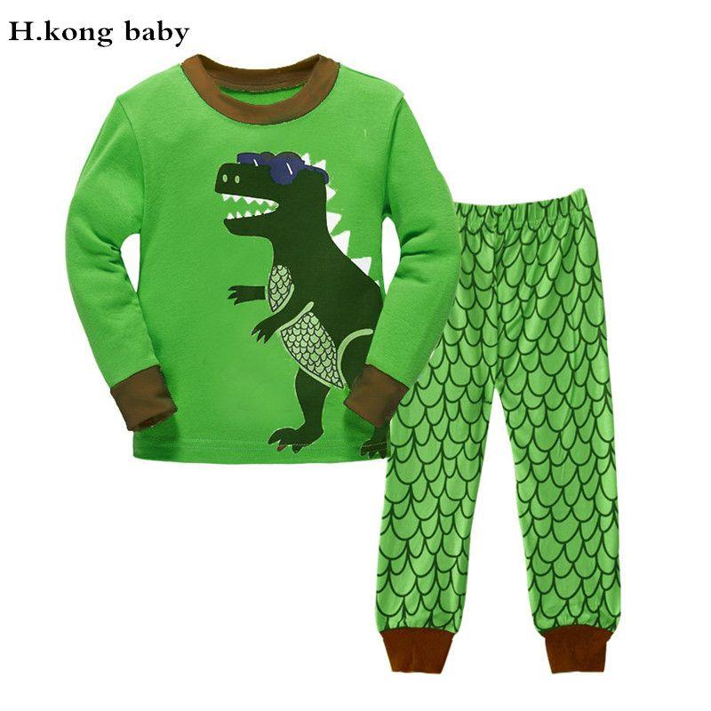 H. Kong для маленьких детей пижамы Наборы для ухода за кожей детская одежда для сна для мальчиков пижамы для всей семьи рождественские детские ...