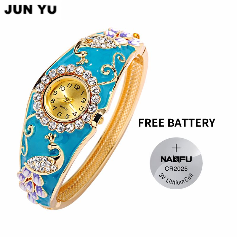 JUNYU Reloj de Pavo Real 2017 18 K de Oro Las Mujeres de Lujo Relojes de Cuarzo de Rubí Sintético Pintura Del Grano de Cristal Rhinestone