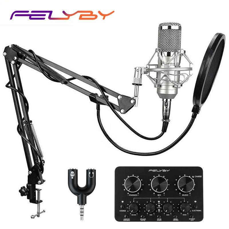 FELYBY Marke Professionelle bm 800 Kondensator Mikrofon Aufnahme Radio Karaoke Mikrofon mit Multi-funktion live soundkarte