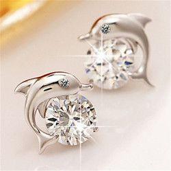 Lindo romántico amor del delfín Pendientes de broche para las mujeres de alta calidad 925 joyas de plata corte redondo AAA ZIRCON brinco bijoux