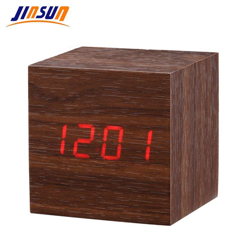 JINSUN multicolore LED numérique horloge Cube sons contrôle affichage électronique bureau Table horloges Smart petit Wekkerer