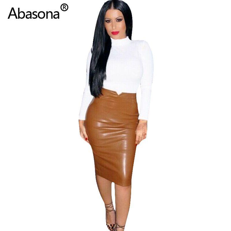 Femmes en cuir Pu Jupe automne Streetwear décontracté bureau travail usure moulante Jupe crayon taille haute longue velours jupes femmes Jupe