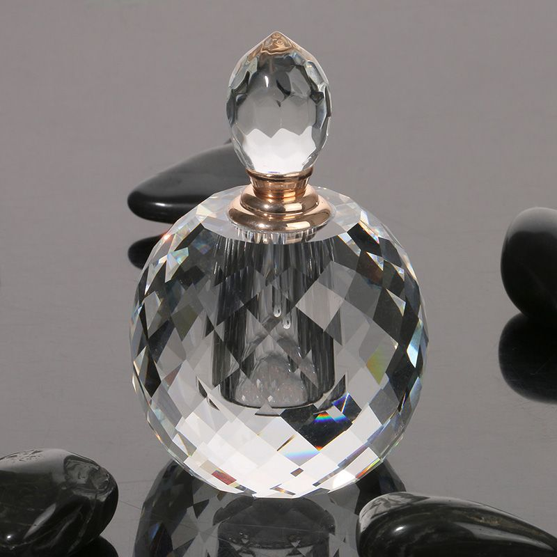 7ml Clear Prism Round Luxury Refillable Women Perfume Bottles Parfum Empty Container Vintage K9 Crystal Cut Glass Bottle Gift