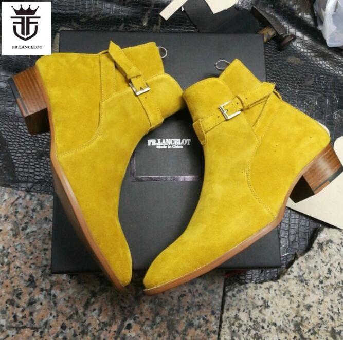 FR. LANCELOT 2019 wildleder leder männer booties schnalle Chelsea Stiefel slip auf Stiefeletten Männer der Mode med Herbst Stiefel