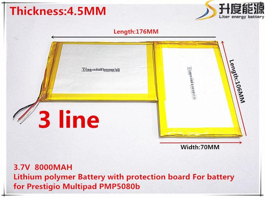 Freies verschiffen 4570106*2 3,7 v 8000 mah lithium-polymer-akku mit schutz bord für batterie für prestigio multipad pmp5080b