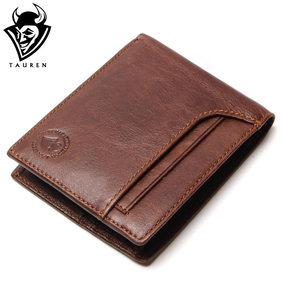 TAUREN RFID BLOCKING New Stylish Men Wallet Genuine Cow Leather Male Bifold Purse With Card Pocket RFID <font><b>Protection</b></font>