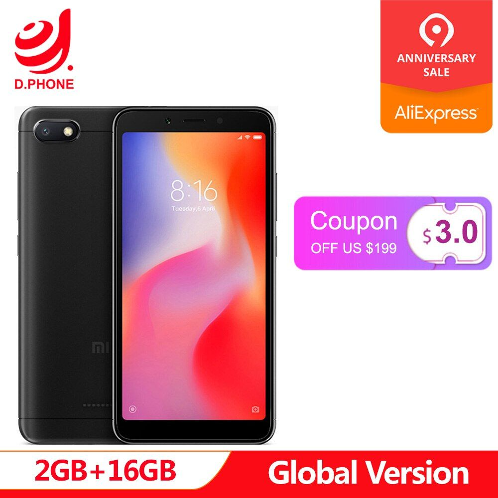 Global Version Xiaomi Redmi 6A 18:9 Full Screen MTK Helio A22 MIUI 9 2GB 16GB 4G LTE AI 13.0MP Face Recognition 6 A Phone