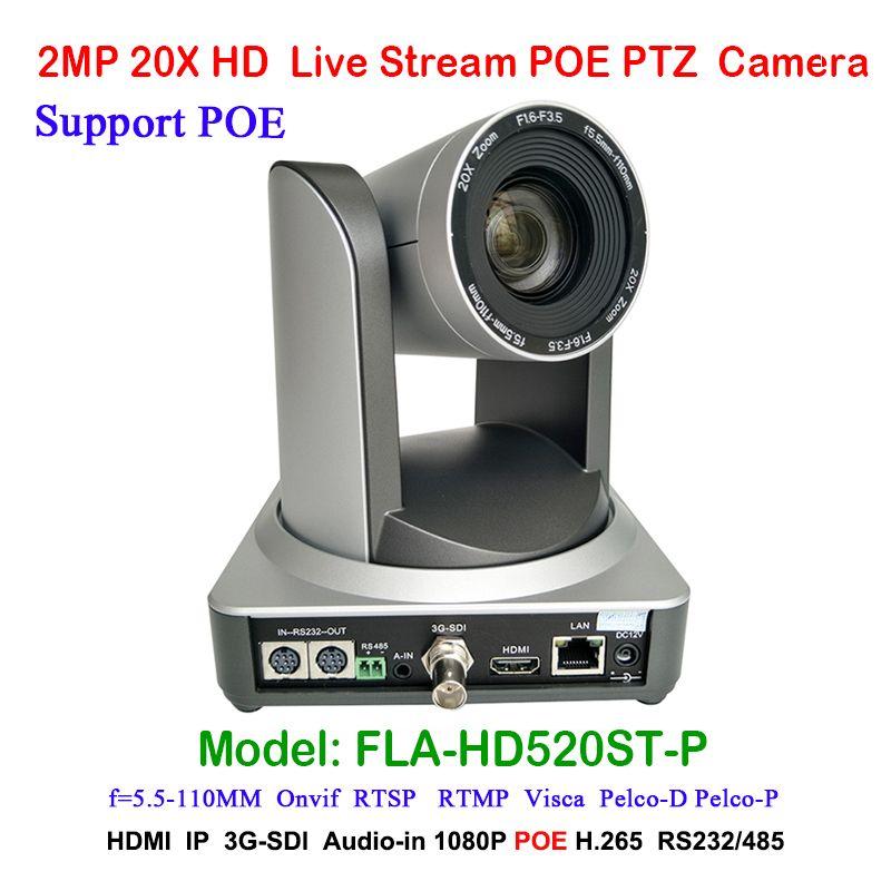 2MP Full HD Indoor Broadcast Digital Video Camera PTZ 20x Optical Zoom 1920x1080 at 60fps HDMI 3G-SDI IP POE 54.7 degree FOV