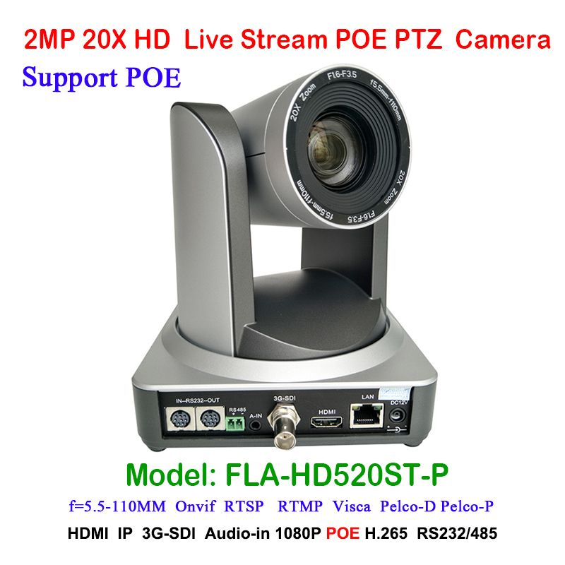 2MP Volle HD Indoor Übertragen Digitale Video Kamera PTZ 20x Optische Zoom 1920x1080 bei 60fps HDMI 3G-SDI IP POE 54,7 grad FOV