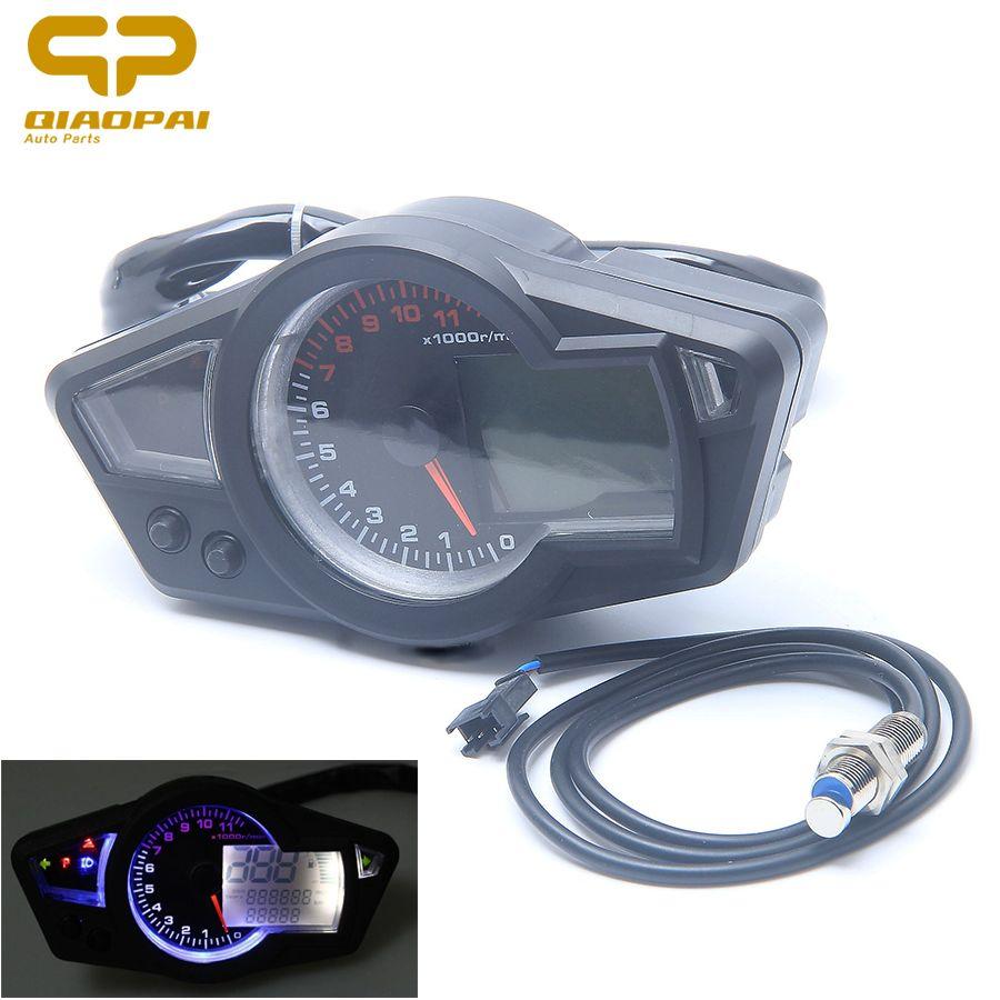 Motorcycle Waterproof LCD Digital Speedometer 11000RPM DC 12V Tachometer Odometer Water Temperature Meter Backlight Turn Light