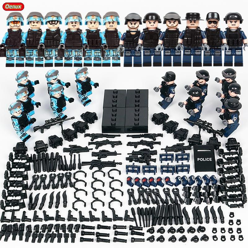 Oenux 12PCS City Policeman Figures With Weapons Model Building Block Brick Modern SWAT Police Soldiers Assembling Brick Boys Toy