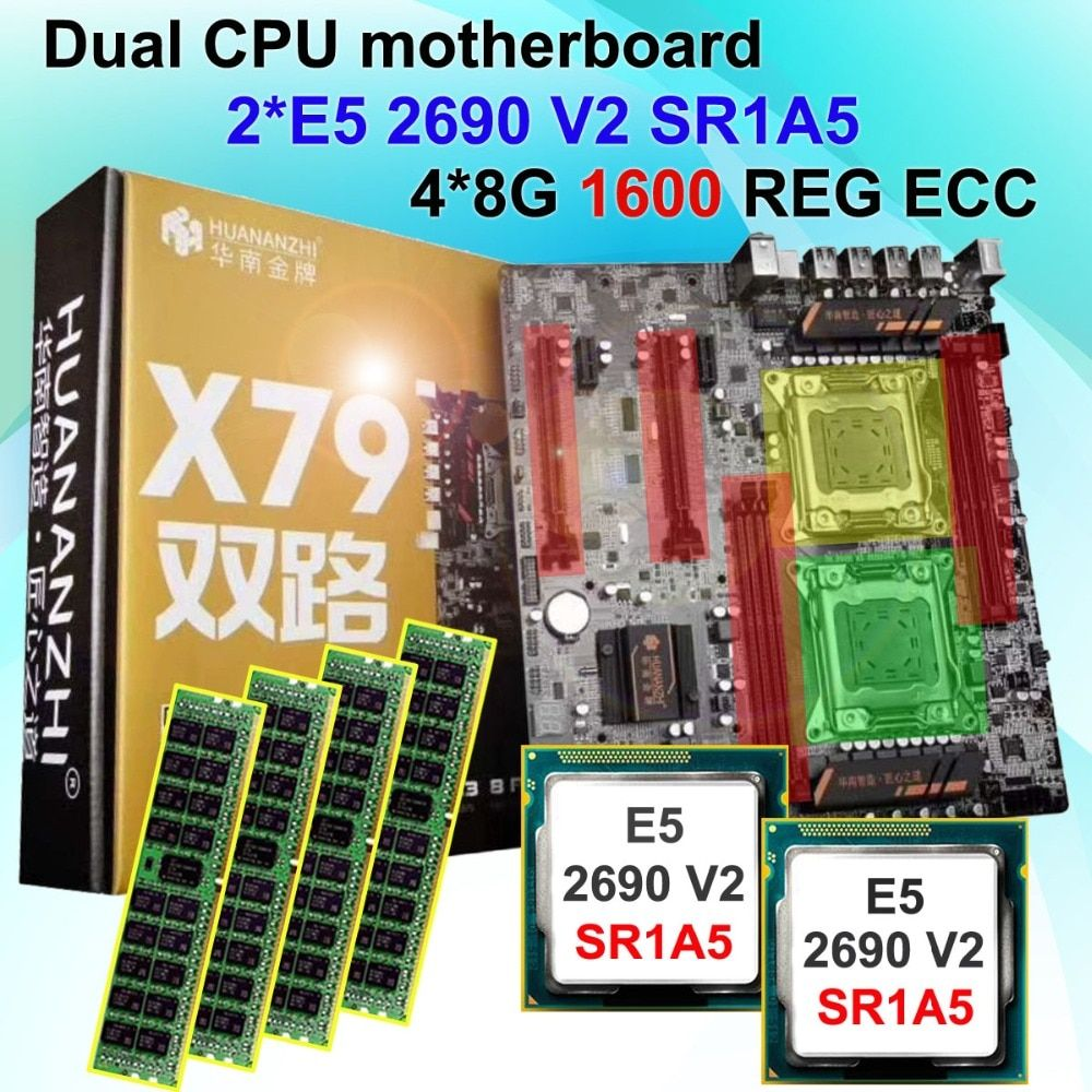 Featured brand new HUANAN ZHI dual CPU X79 motherboard with CPU Intel Xeon E5 2690V2 SR1A5 3.0GHz RAM 4*8G DDR3 1600 REG ECC