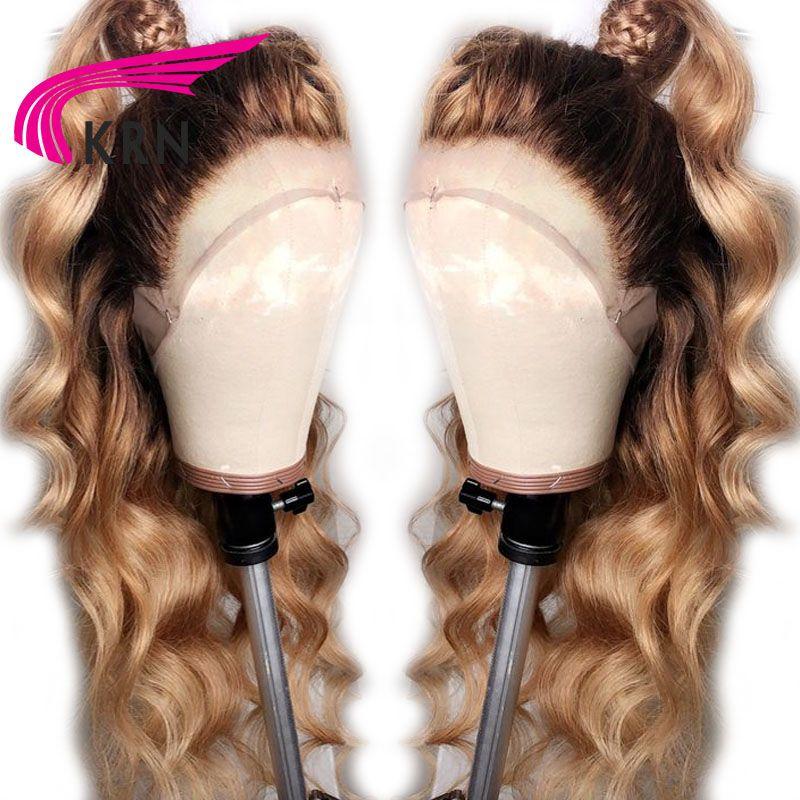 KRN #4/27 Ombre brésilienne 13x4 dentelle frontale perruques de cheveux humains avec bébé cheveux vague de corps remy pré plumé dentelle avant perruque pour les femmes