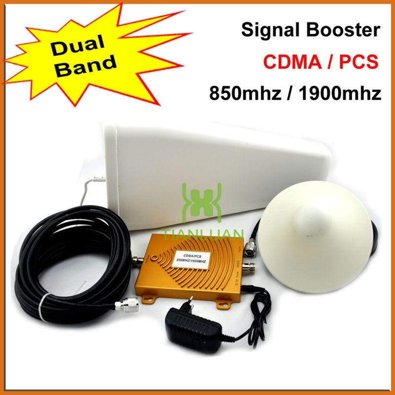 mini Dual Band Mobile Phone Signal Booster 850 MHz 1900 MHz CDMA PCS Signal Repeater Cell Phone Signal Amplifier with Antenna
