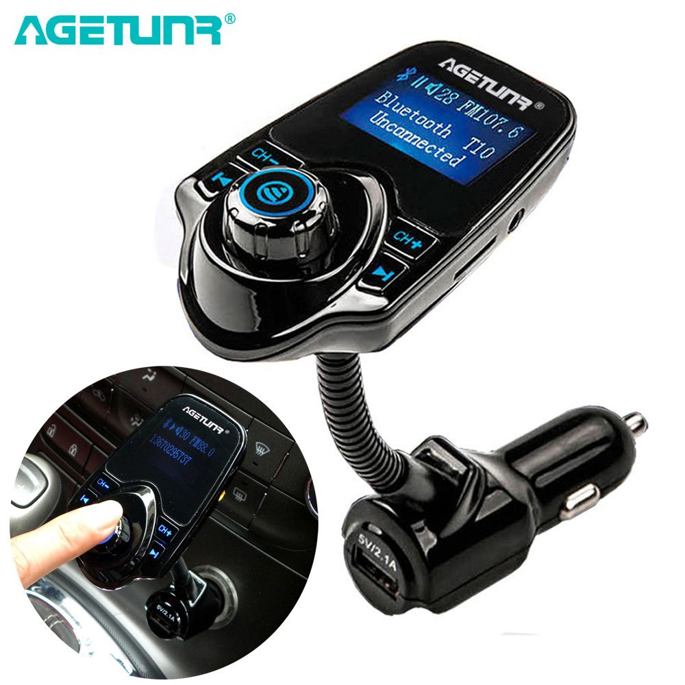 AGETUNR Bluetooth Car Kit <font><b>Handsfree</b></font> Set FM Transmitter MP3 Music Player 5V 2.1A USB Car Charger Support Micro SD Card 4G-32G
