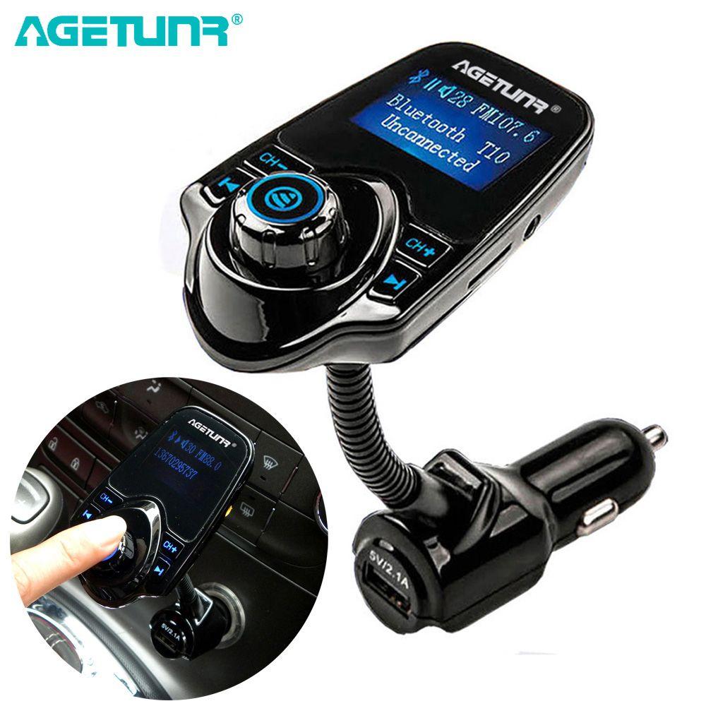 AGETUNR Bluetooth De Voiture Kit Mains Libres Ensemble FM Transmetteur MP3 Musique Lecteur 5 v 2.1A USB Voiture Chargeur Support Micro SD carte 4g-32g