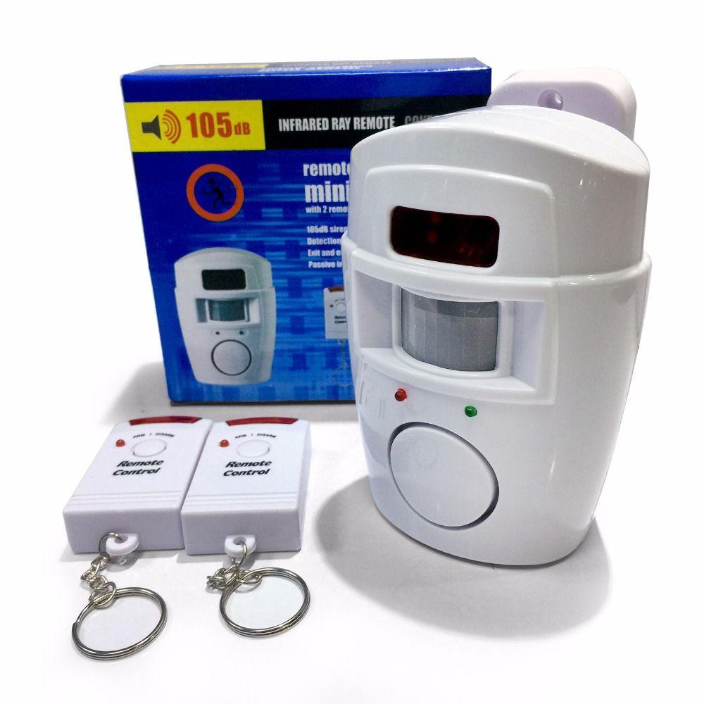 Alarme sans fil PIR/capteur de mouvement + 2 télécommandes alarme antivol 105db