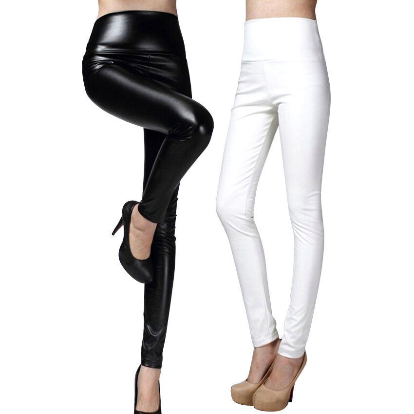 Haute qualité PU cuir pantalon femmes hiver femme taille haute élastique pu cuir polaire stretch Slim femmes crayon pantalon