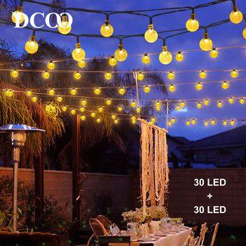 Dcoo 2 unidades de cadena de luces LED de globo con energía Solar 30 LEDs Bola de globo luces de hadas jardín exterior vacaciones navideñas Pack