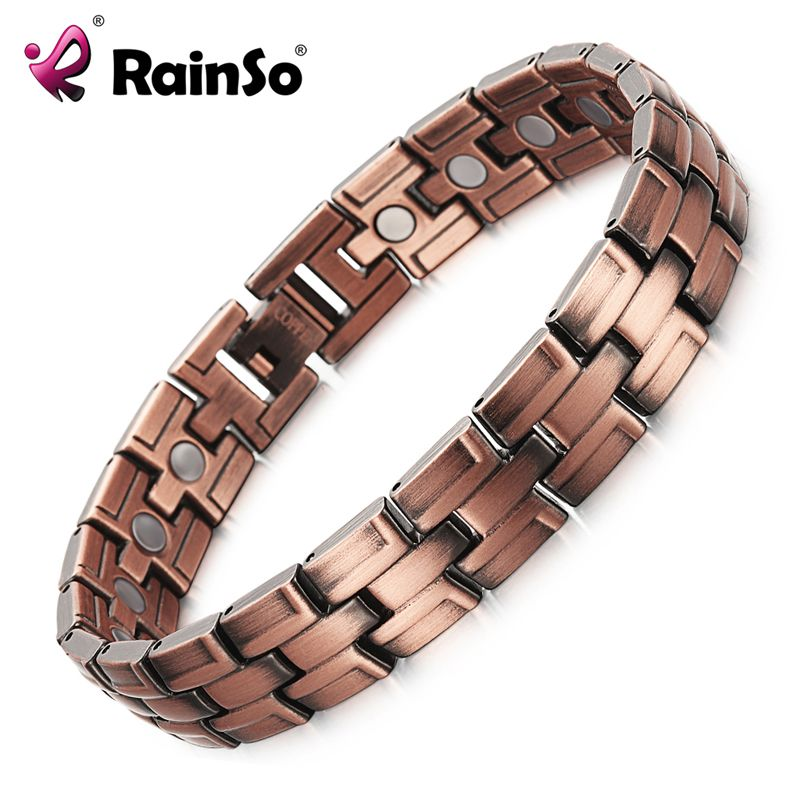 Bracelets en cuivre RainSo avec aimant pour hommes femmes soulagement de la douleur arthrite couleur Bronze Bracelet magnétique de luxe de haute qualité