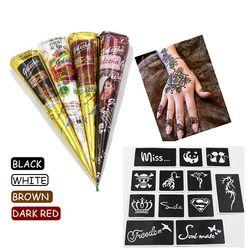 Noir brun rouge blanc Henné Cônes Pâte Pour Tatouage Temporaire body art Autocollant de Tatouage De Henné Indien Mehndi Corps Peinture