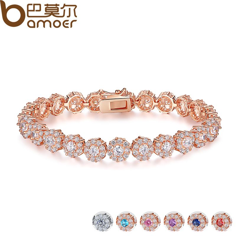 BAMOER 7 Colores de Oro Rosa Pulsera Del Acoplamiento de Cadena para Mujeres de Las Señoras Brillantes AAA Cubic Zircon Crystal Regalo JIB012