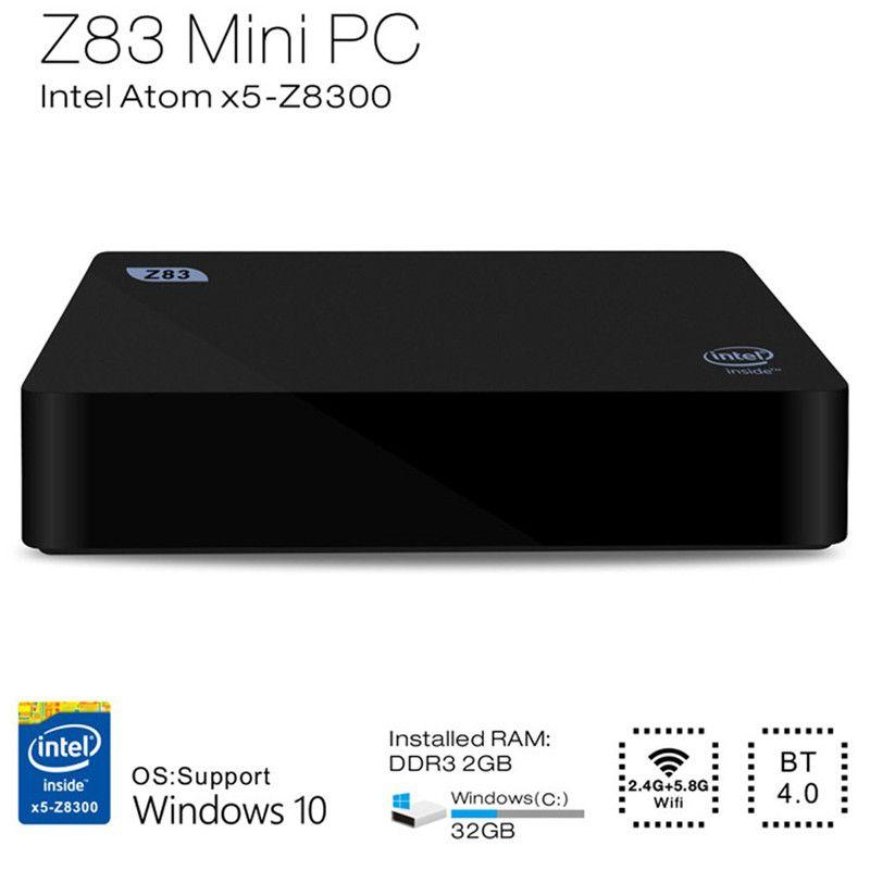 Z83II Mini PC Intel Atom x5-Z8350 Quad Core Windows 10 64bit 2.4G + 5.8G WiFi Intel HD Graphics 400 TV Box 2GB 32G Media Palyer