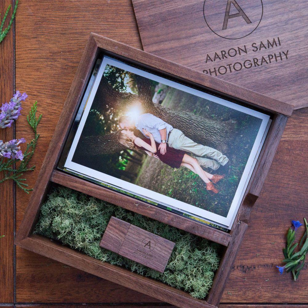 (Free logo or words names engraving) Wooden Photo Album Box USB 3.0 Pendrive DIY Engraved Logo Wedding Memory