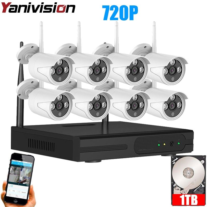 CCTV System 720P 8CH HD Wireless kit Night Vision IP Camera wifi Camera kit Home Security System video Surveillance Yanivision